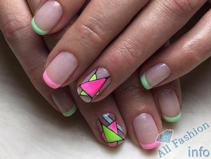 френч на коротких ногтях (35)
