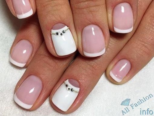 френч на коротких ногтях (46)