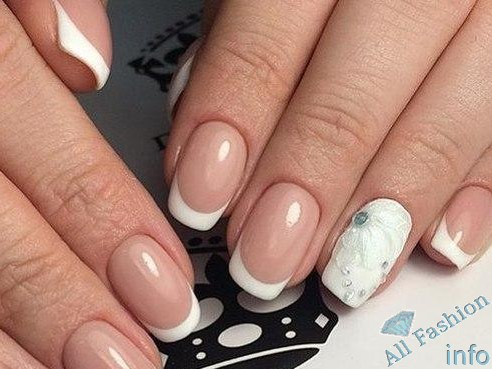 френч на коротких ногтях (57)