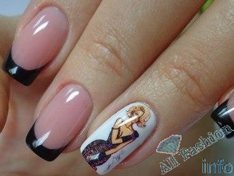 френч на коротких ногтях (66)
