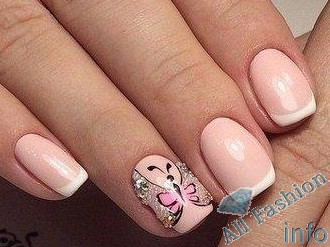 френч на коротких ногтях (71)