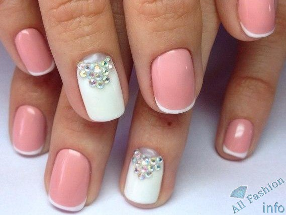 френч на коротких ногтях (85)