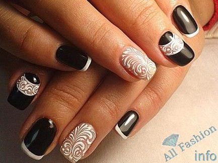 френч на коротких ногтях (91)