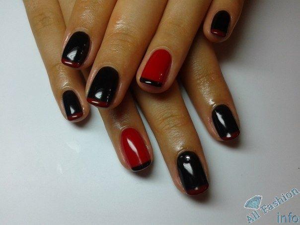 Красно-черный французский маникюр гель-лаком пошагово