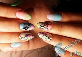 Нарощенные ногти дизайн омбре 15