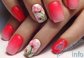 Нарощенные ногти дизайн омбре 29