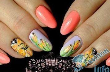 маникюр наклейки бабочки